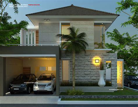 desain garasi dua mobil model rumah hook 2 lantai