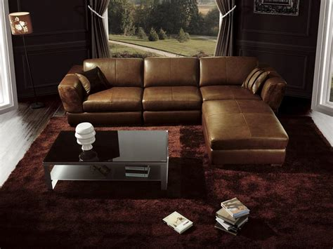 Luxury Living Room Interior Design With Glossy Brown L Leather Sofa For Living Room