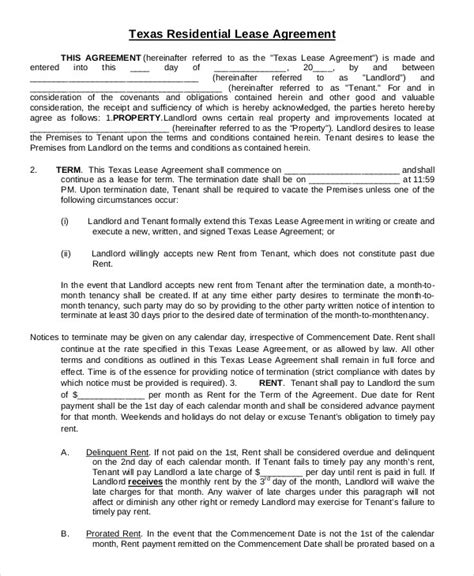 Printable Residential Lease Agreement Texas | printable residential lease agreement 13 free word pdf