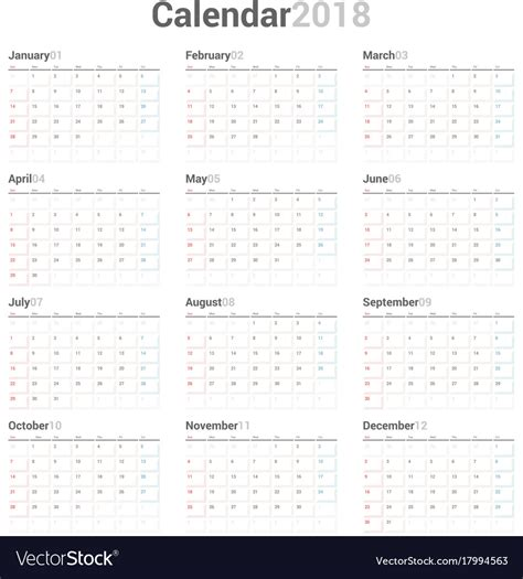 Yearly Wall Calendar Planner Template For 2018 Vector Image Wall Calendar 2018 Template