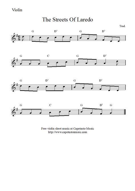 printable christmas violin sheet music free free printable violin sheet music the streets of laredo