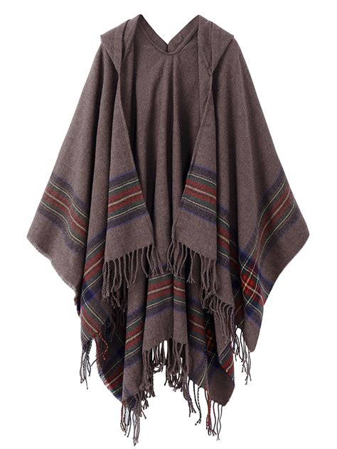 Patchwork Cloak - casual irregular stripe tassels patchwork hooded