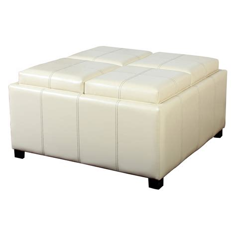 Best Selling Home Decor Dartmouth Four Sectioned Leather Storage Coffee Table Ottomans