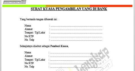 format surat kuasa setoran dengan warkat bca recomended contoh surat kuasa pengambilan uang di bank doc