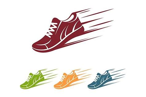 athletic shoes logo speeding running shoe icon by kurokstas on creativemarket