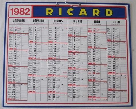 Calendrier De 1982 Calendrier Les Objets Ricard De Ricardman27