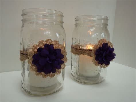 10 rustic burlap plum mason jar candle centerpiece wedding