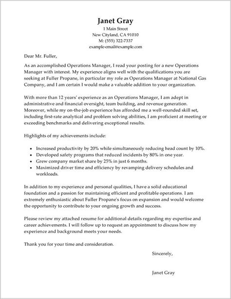 cover letter free free sle cover letter for operations manager cover
