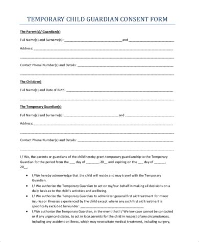Temporary Guardianship Form Sles 10 Free Documents In Word Pdf Temporary Custody Affidavit Template