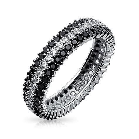 Black and White Band Eternity Ring For Women 3 Row Cubic