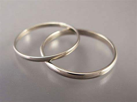 thin white gold wedding band set 1 5 and 2mm wide his and