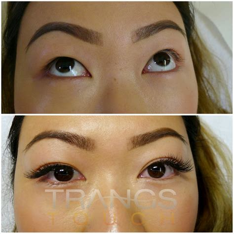 eye lash extension for old asian women before and after cat eye flared lashes by trang 2d 3d