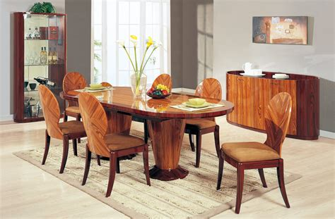 brown lacquered formal dining room set