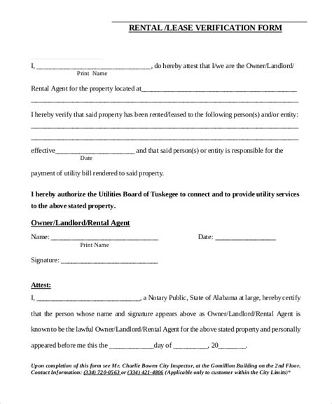 blank rental verification form sle rental verification form 10 exles in pdf word