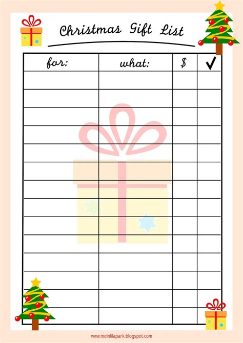 printable christmas gift list free printable christmas gift list ausdruckbare