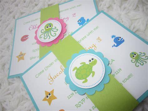 Handmade Baby Invitations - custom listing for krichael the sea handmade invitation