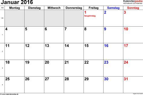 Kalender 2016 Monatskalender Kalender Januar 2016 Als Excel Vorlagen