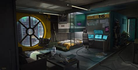 Living Room Concepts by Artstation Cyberpunk Room Adrian Marc