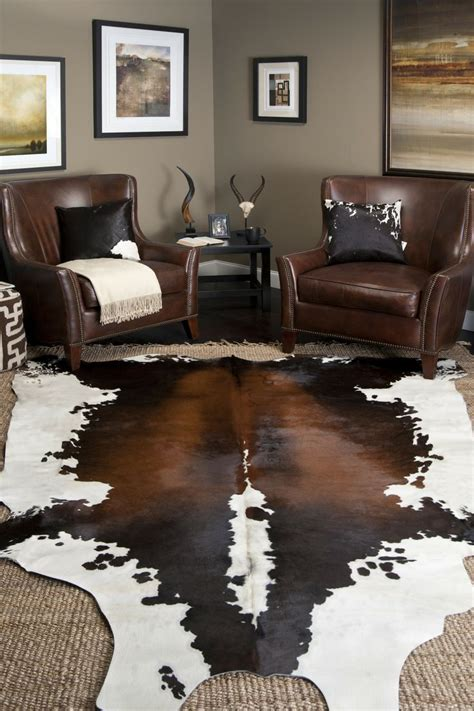 Cowhide Rug In Living Room - interior decor ideas area rugs cowhide rug decor living