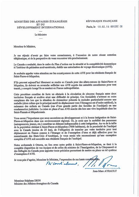 Lettre De Remerciement Francais F 233 Vrier 171 2016 171 Annick Girardin
