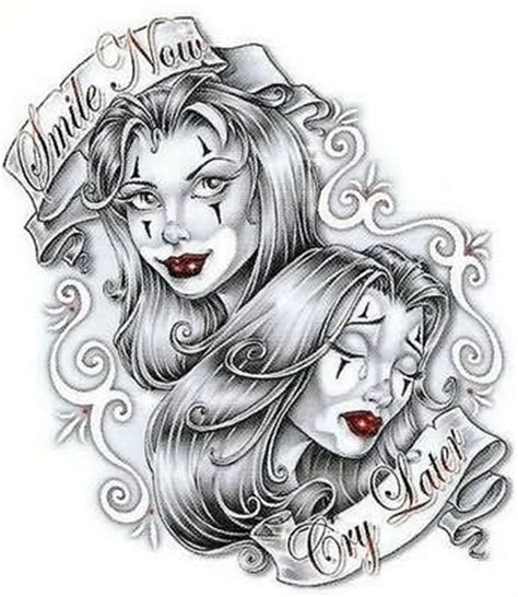 gangster clown girls tattoo design clown tattoo designs