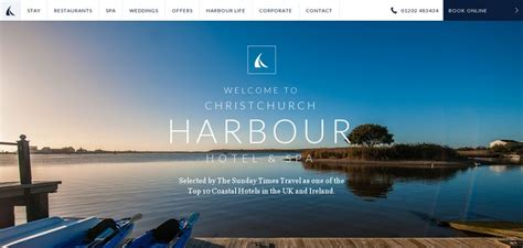 spa website inspiration christchurch harbour hotel spa website has a great web