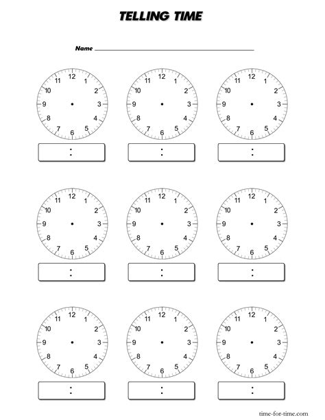 Blank Time Worksheets | free blank clock template coloring pages