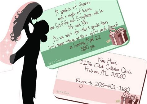 Bridal Shower Gift Cards Only - gift card shower invitations 1 00 each like the wording bridal showers