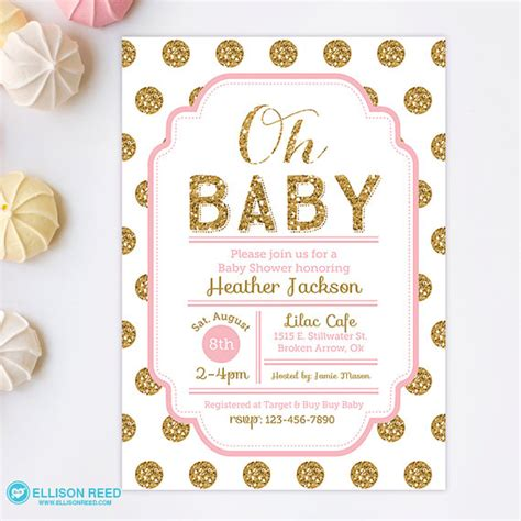 pink and gold baby shower invitations templates ideas