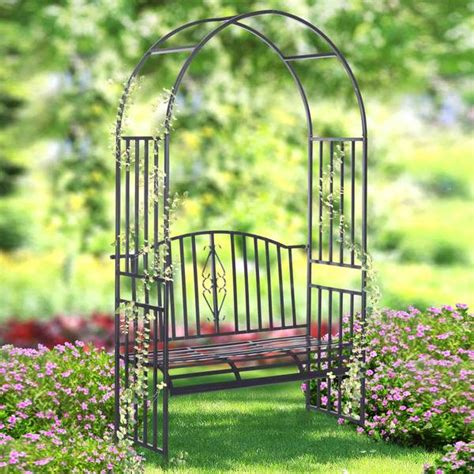 Garden Arbor With Seat Sunjoy Villow Arbor With Seat Free Shipping Today
