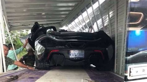 mclaren p1 crash mclaren p1 damaged during truck crash in cambodia carscoops