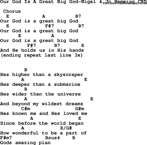 printable lyrics how great is our god christian childrens song our god is a great big god nigel