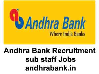 Andhra Bank Gift Card - andhra bank sub staff recruitment 2017 andhrabank in last date 18th april 2017