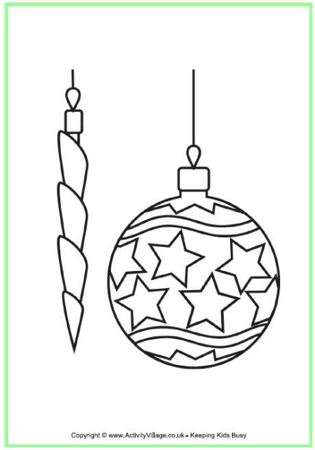 christmas decorations colouring page kerst kleurplaten