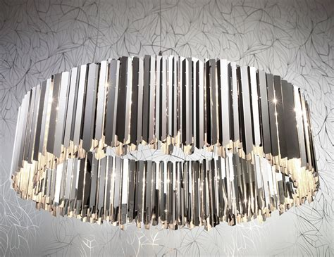 Stainless Steel Chandelier Nella Vetrina Innermost Facet Chandelier Luxury Modern Italian Stainless Steel