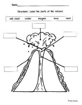labeled diagram 3rd grade label the volcano worksheet pay teachers volcano and worksheets