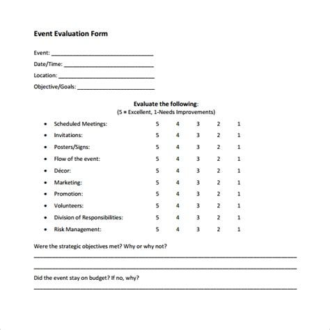 Event Evaluation Form 9 Download Free Documents In Pdf Word Excel Post Event Survey Template