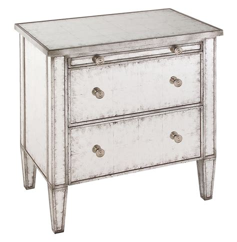Silver Leaf Nightstand Katelyn Regency Silver Leaf Mirror 2 Drawer Nightstand Kathy Kuo Home