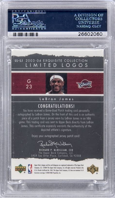 Gamis Roorie 1 lot detail 2003 04 lebron deck quot exquisite collection quot signed limited logos quot 23 75