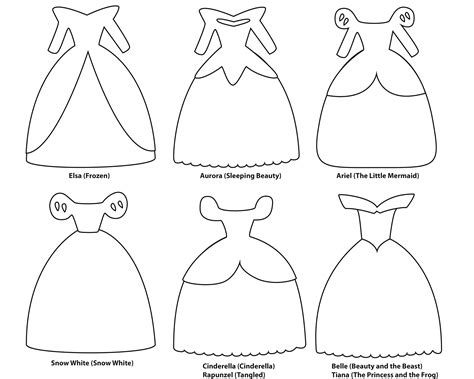 6 paper dress cutout templates for 8 disney princess
