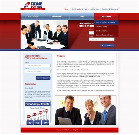 Credit Repair Business Website Template Creditrepair Website Template By Djnick2k On Deviantart