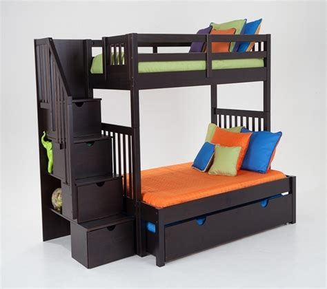 bedroom keystone stairway twin full bunk bed with storage