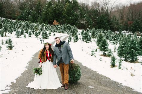 christmas tree farm wedding inspiration with tradition