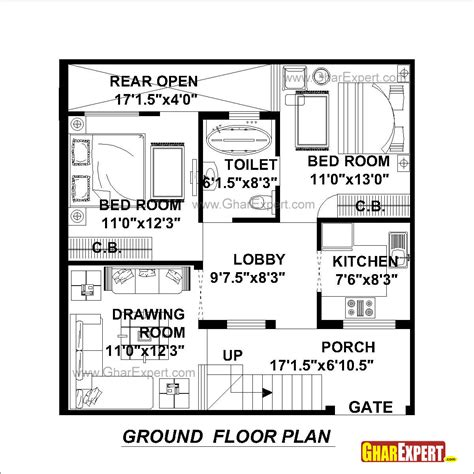 100 gaj sq ft house plan for 30 feet by 30 feet plot plot size 100