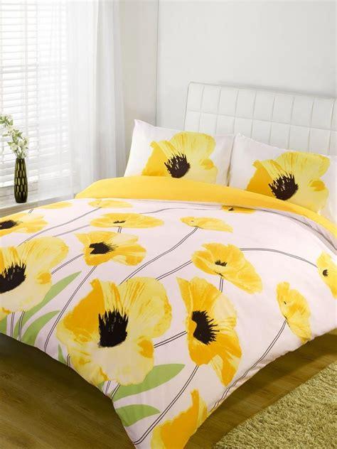 yellow pattern duvet cover yellow poppy print design double size duvet cover bed set