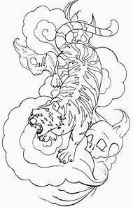 Japanese Tiger Tattoo Coloring Pages