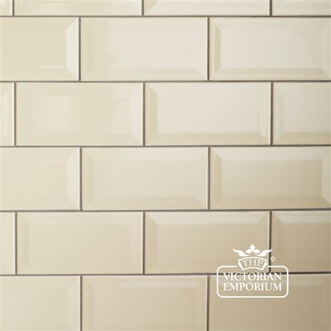 Kitchen Backsplash Panel by Bevel Wall Tiles 100x200mm Cream Interior Ceramic Wall