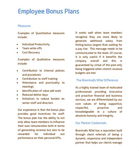 Employee Bonus Letter Templates Format Sle Bonus Plan Template 7 Free Documents In Pdf