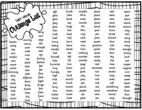 Vocabulary Enrichment In Narrative Essays by Sight Words Challenge List 4th Grade Sight Words Slinky