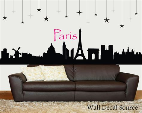 Paris Wall Mural Eiffel Tower paris skyline silhouette wall decal paris wall art eiffel